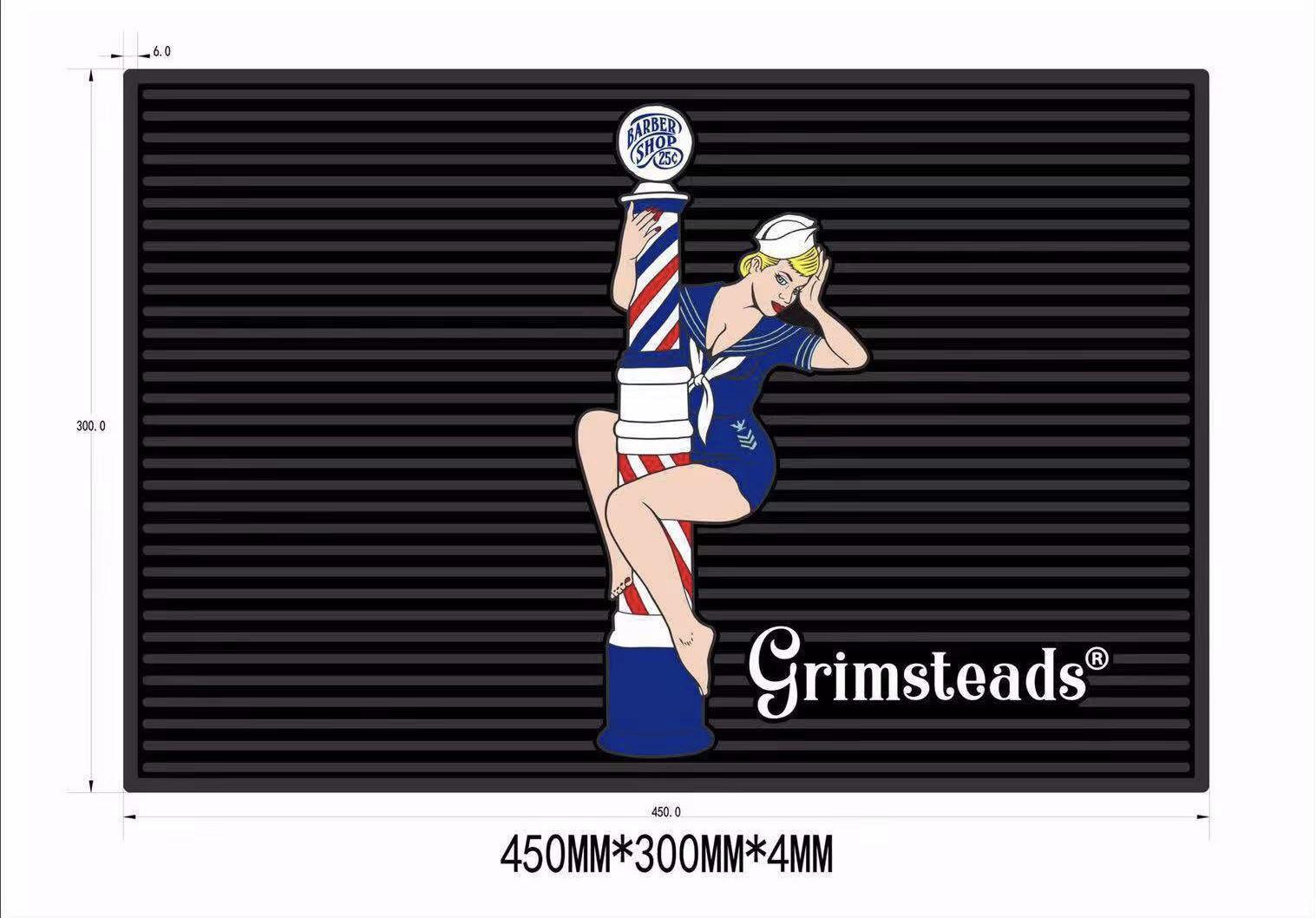 Grimsteads バーバーポール&ピンナップガールツールマット Mサイズ