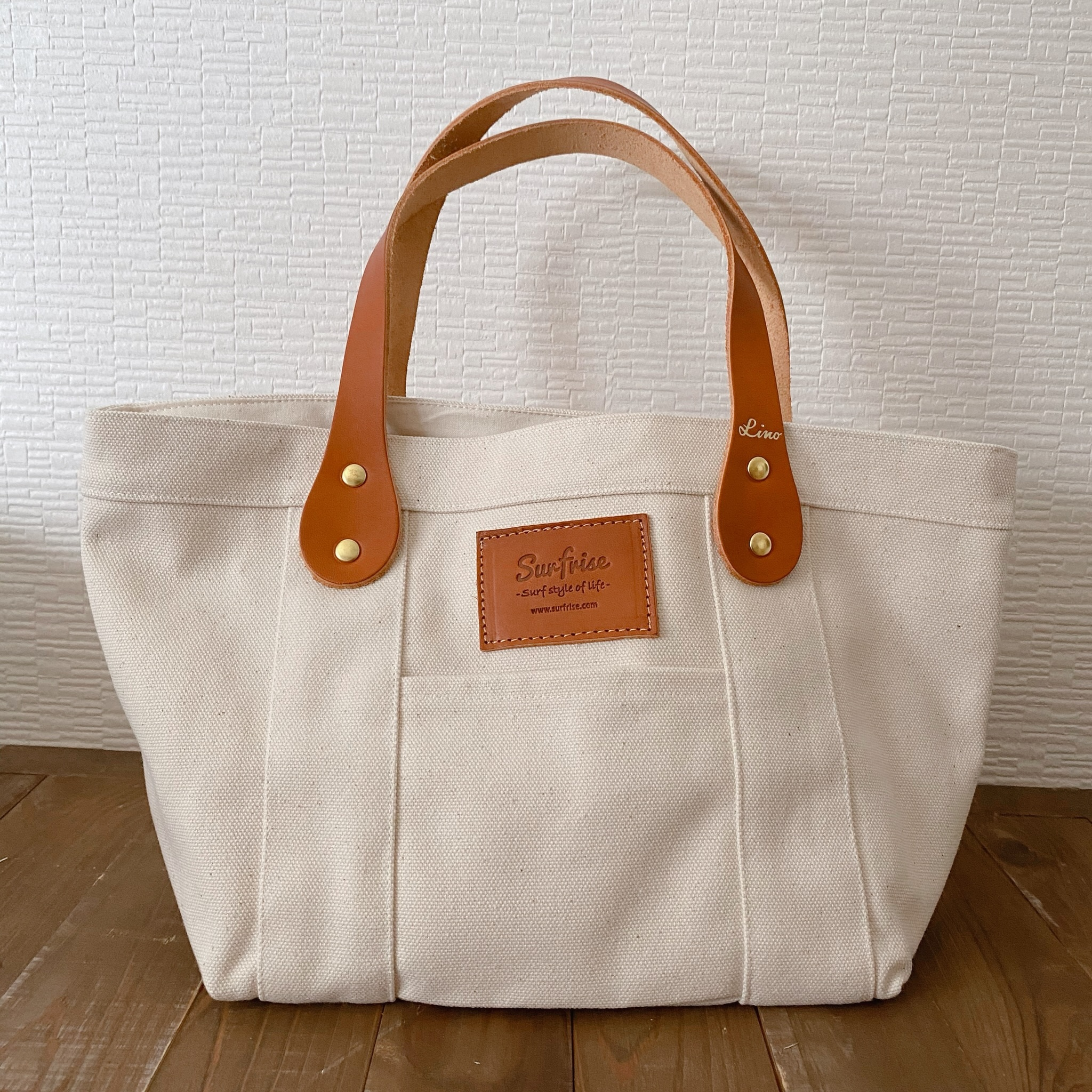 White tote bag S - Leather