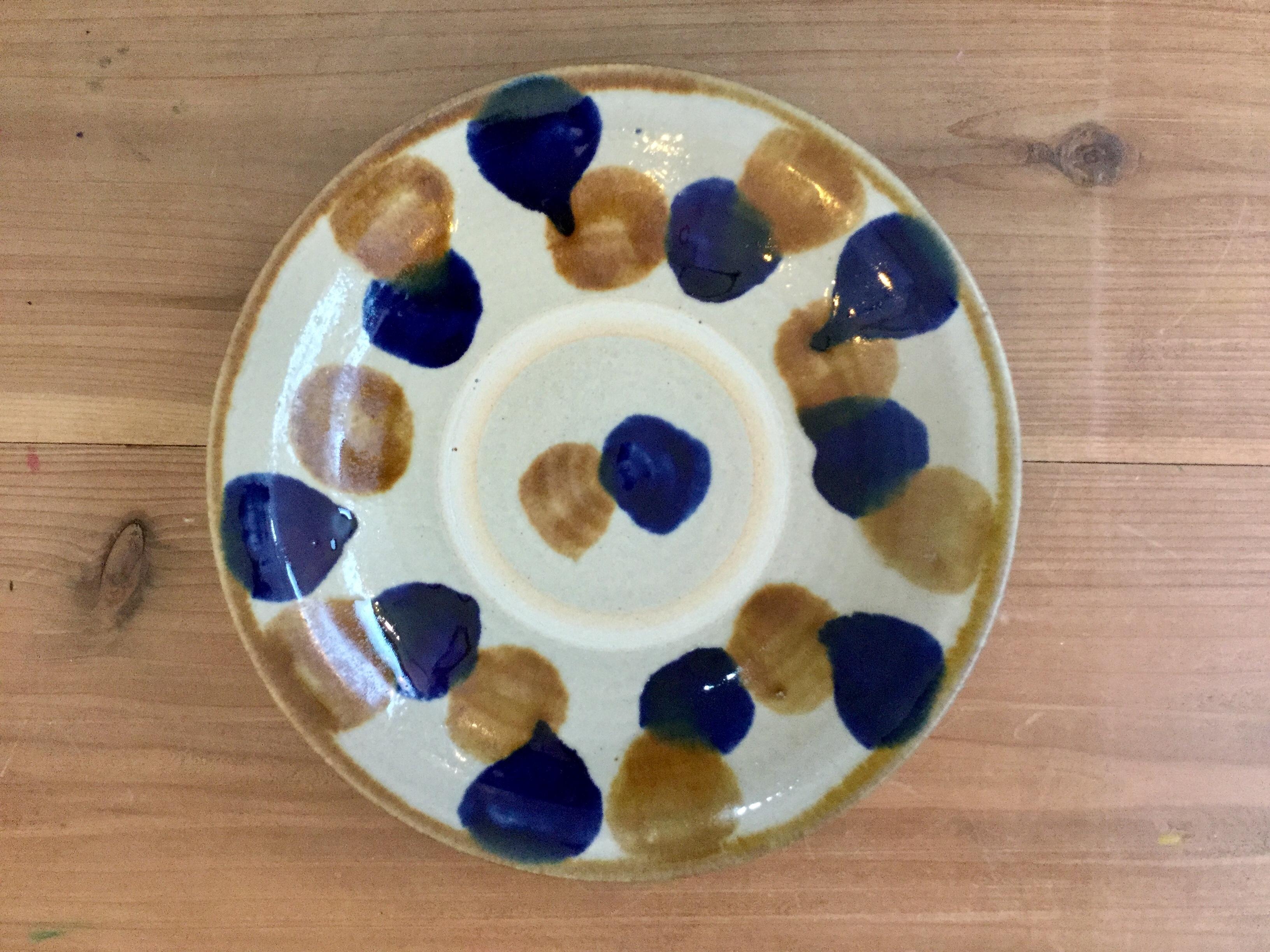 皿7寸点打飴コバ ノモ陶器製作所
