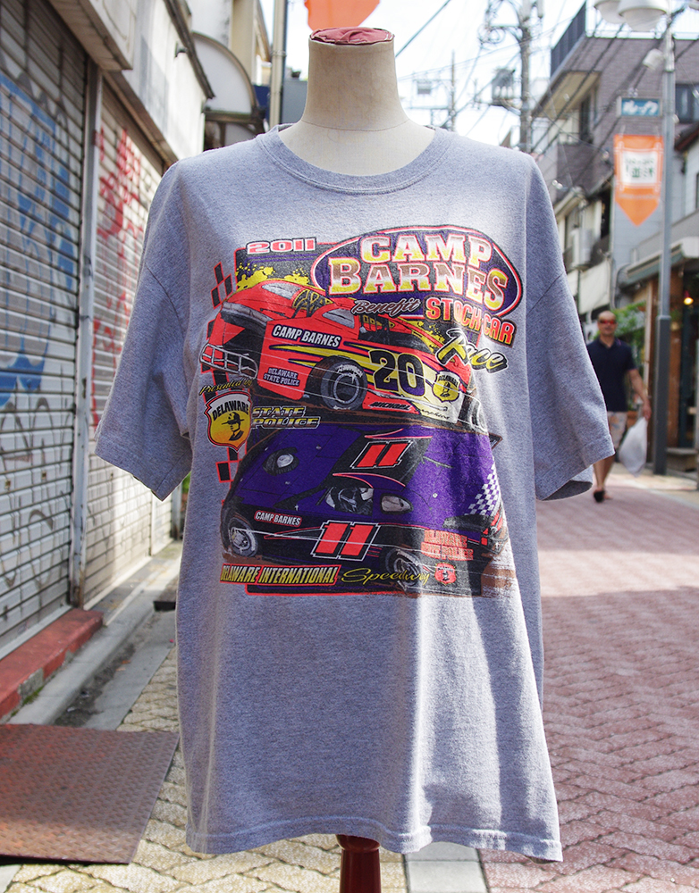 "【USED】 T-shirt ""CAMP BARNES benefit stock car race"" Mens/S-M-size"
