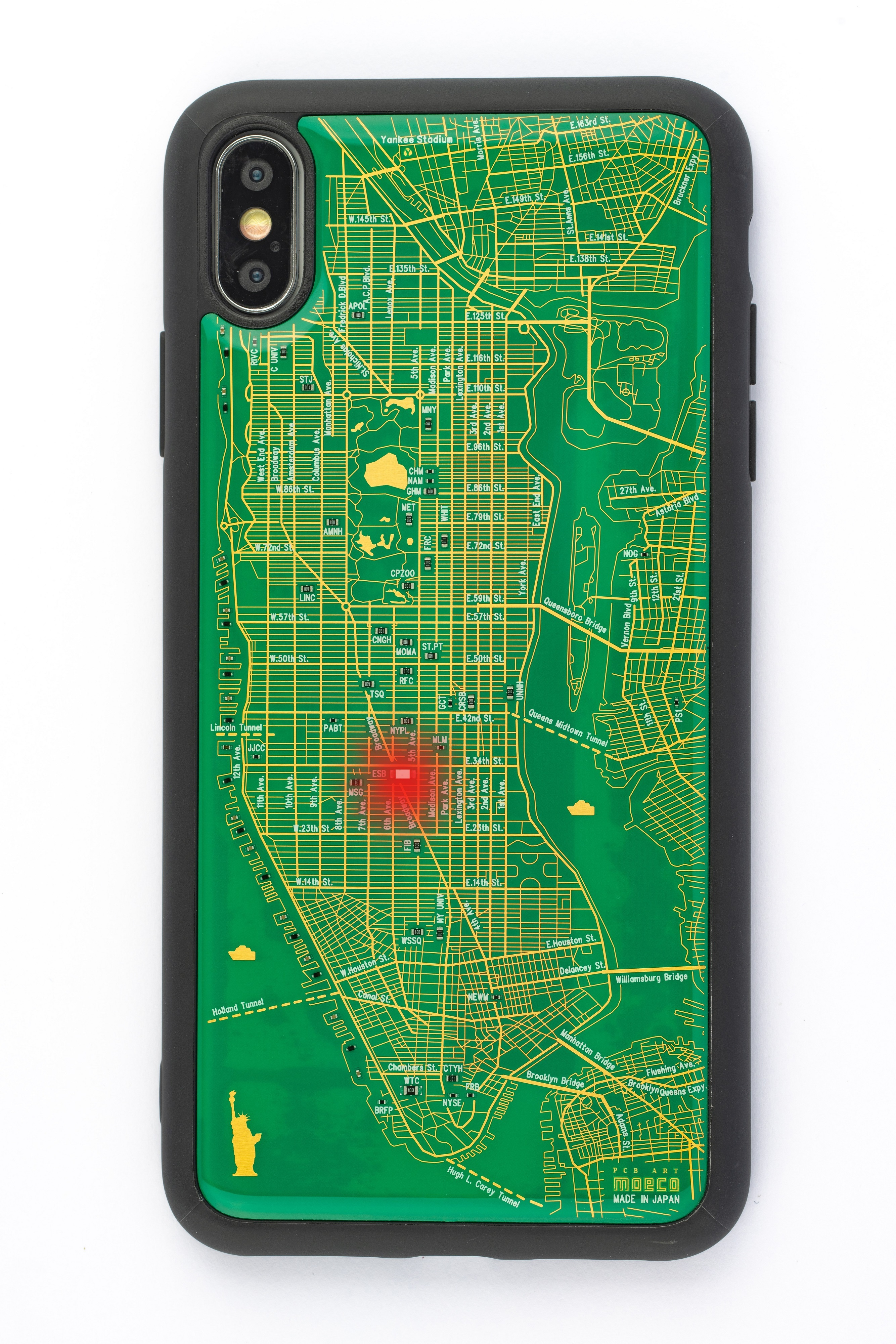 FLASH NY回路地図 iPhone XS Maxケース 緑【東京回路線図A5クリアファイルをプレゼント】