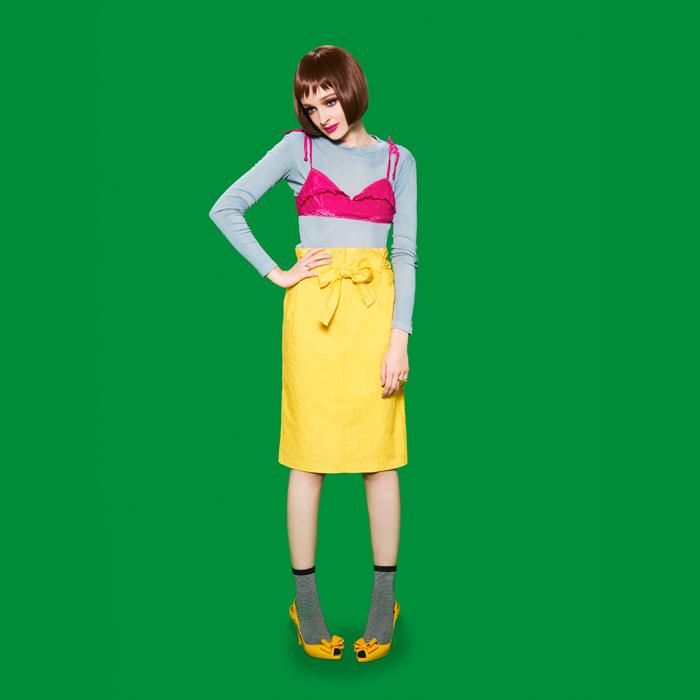 【70%0FF ¥20,520→¥6,156】【ACTRESS】草木染めオーガニックコットンハイウエストタックスカート/イエロー