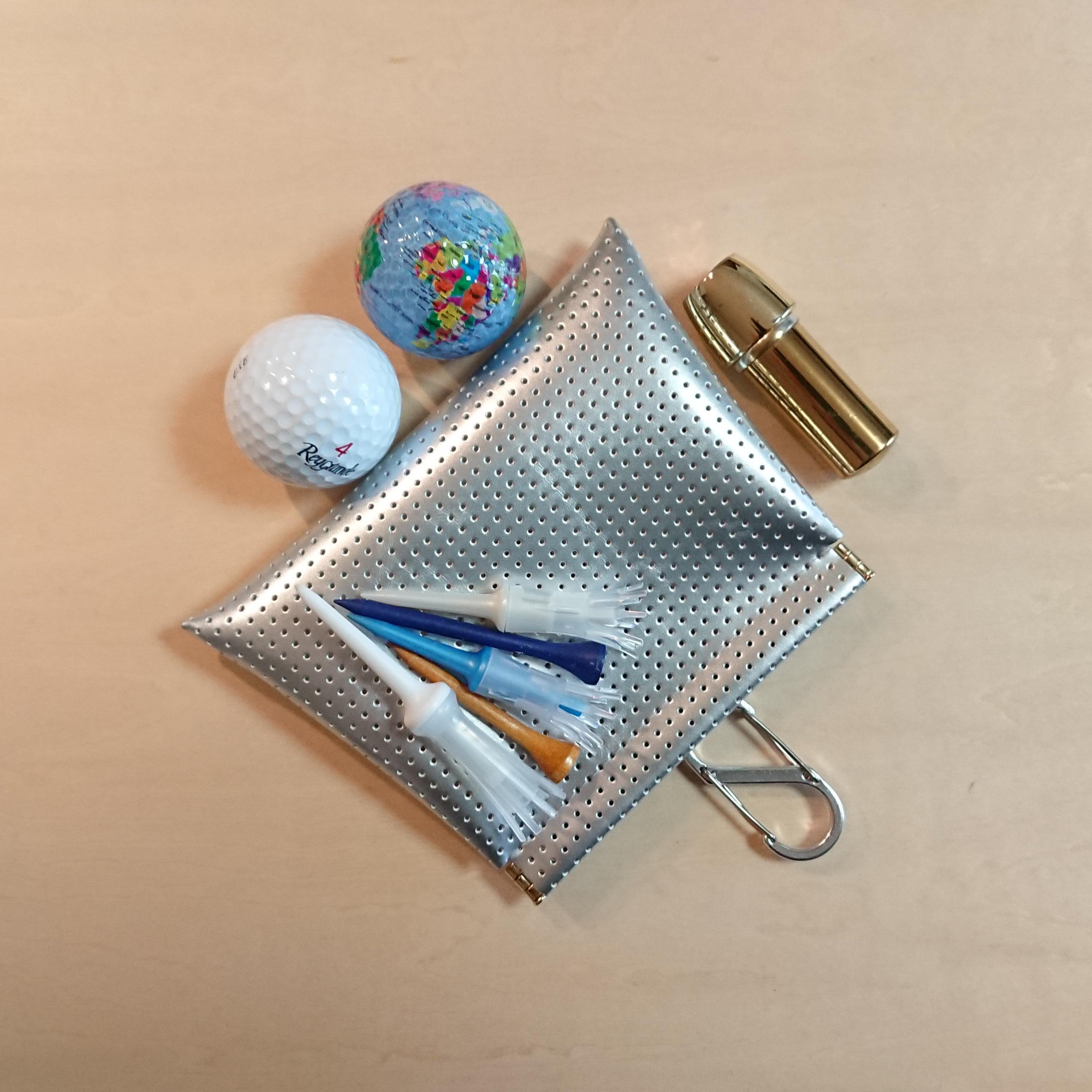台形型 ゴルフボールケース☆ボール2個用 シルバー