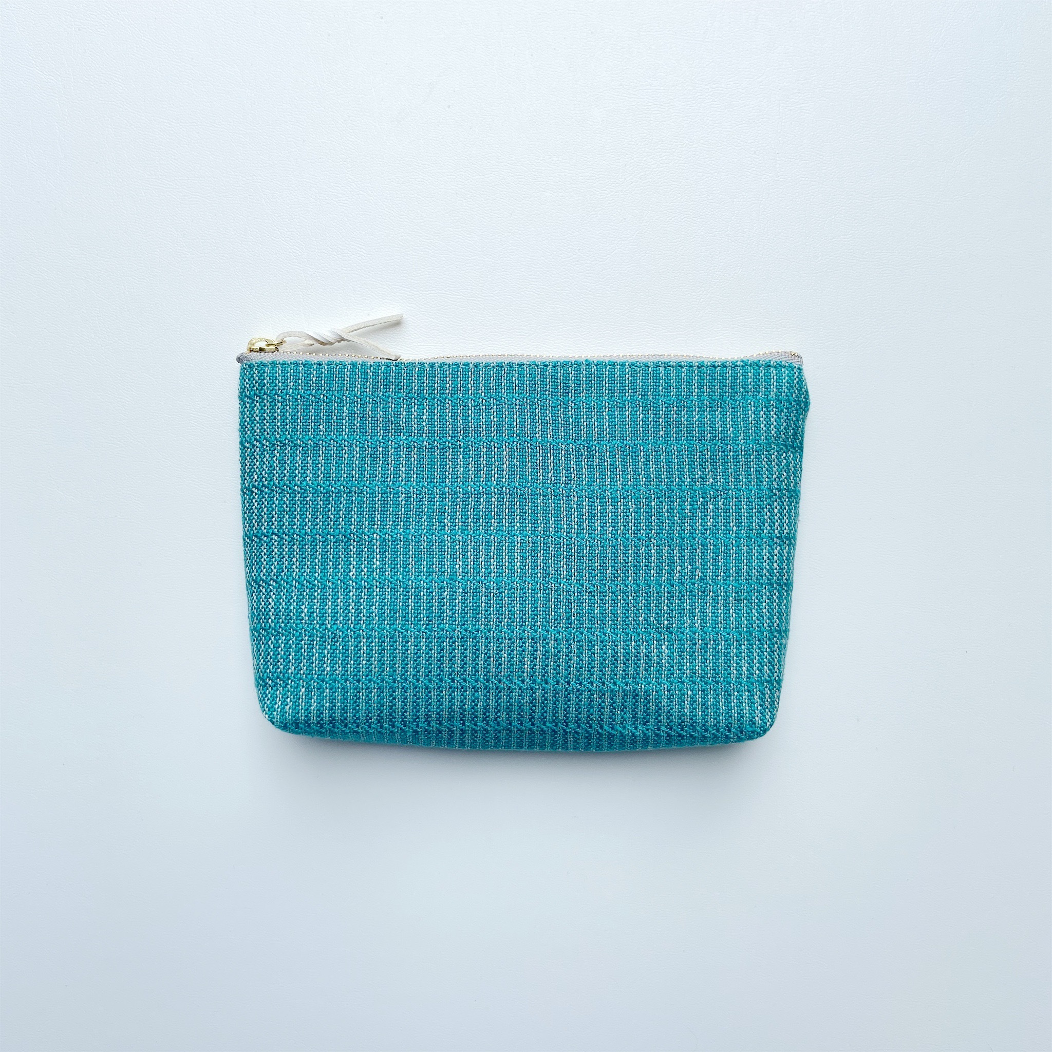 手織りメイクポーチ (Make up bag  Turquoise blue Alinea)