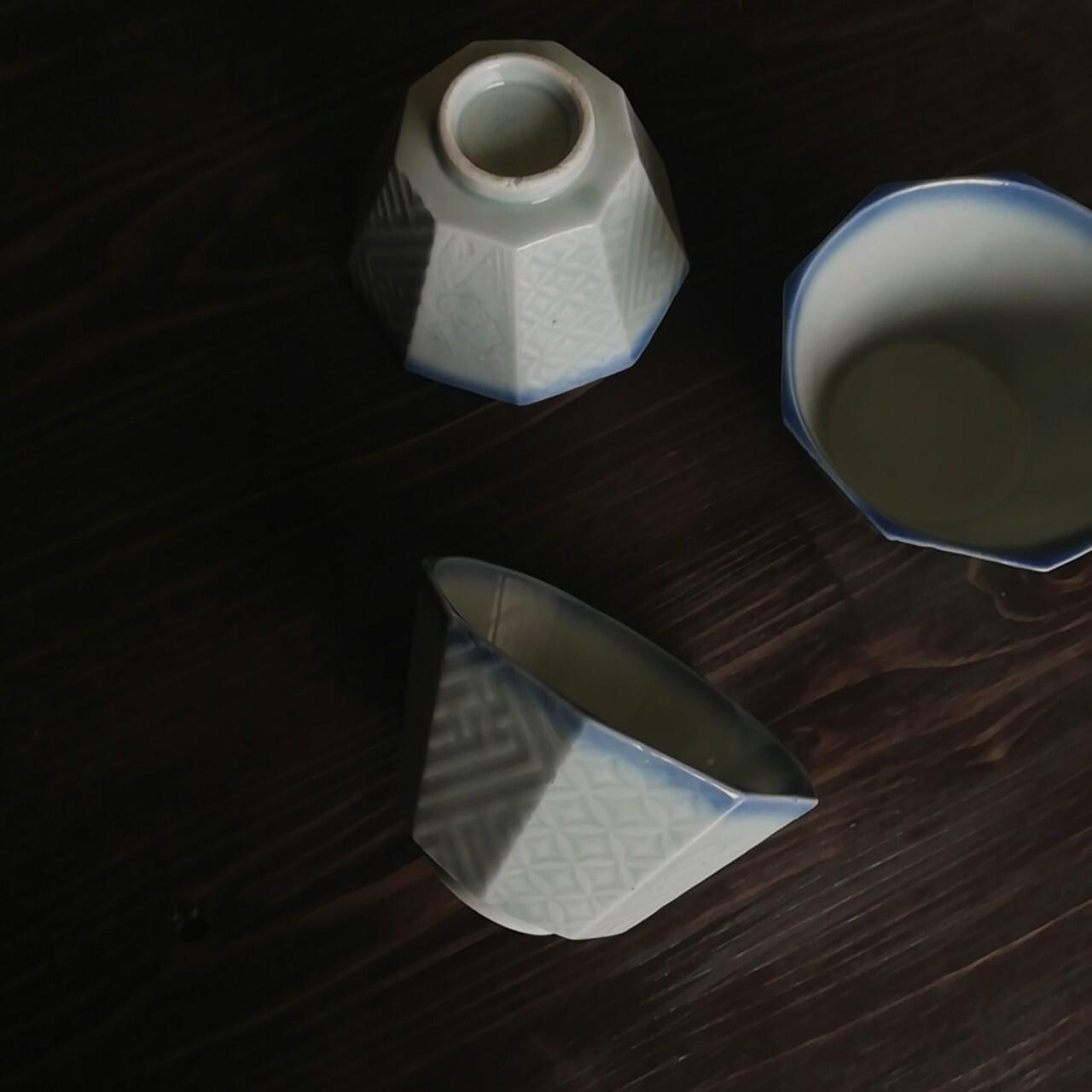 統制陶器「品39」松竹梅 青磁小鉢 3客セット【戦時中】