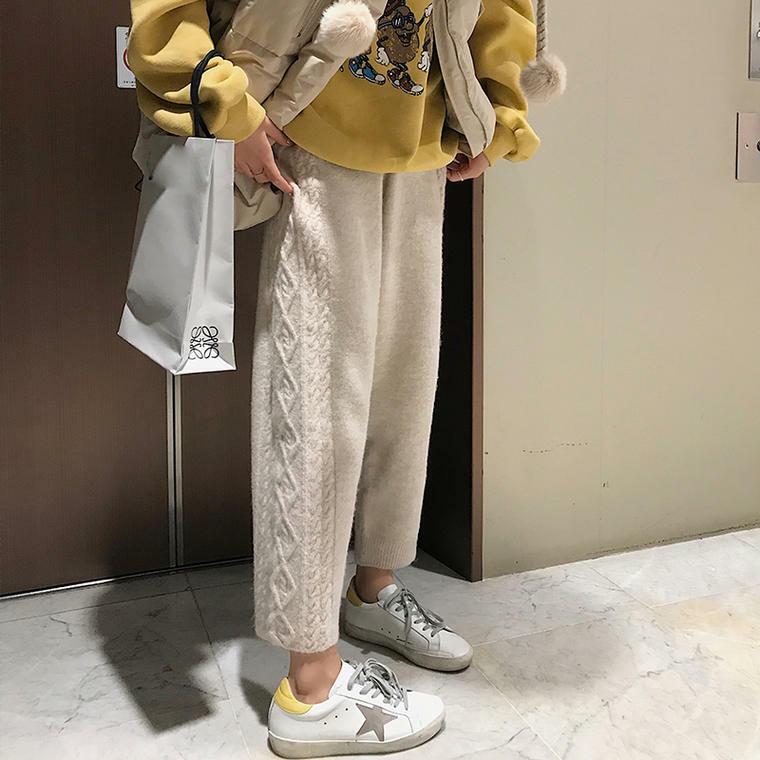 【送料無料】 トレンドデザイン♡ ケーブル編み ニット パンツ ゆるかわ アンクル丈 ストレートパンツ