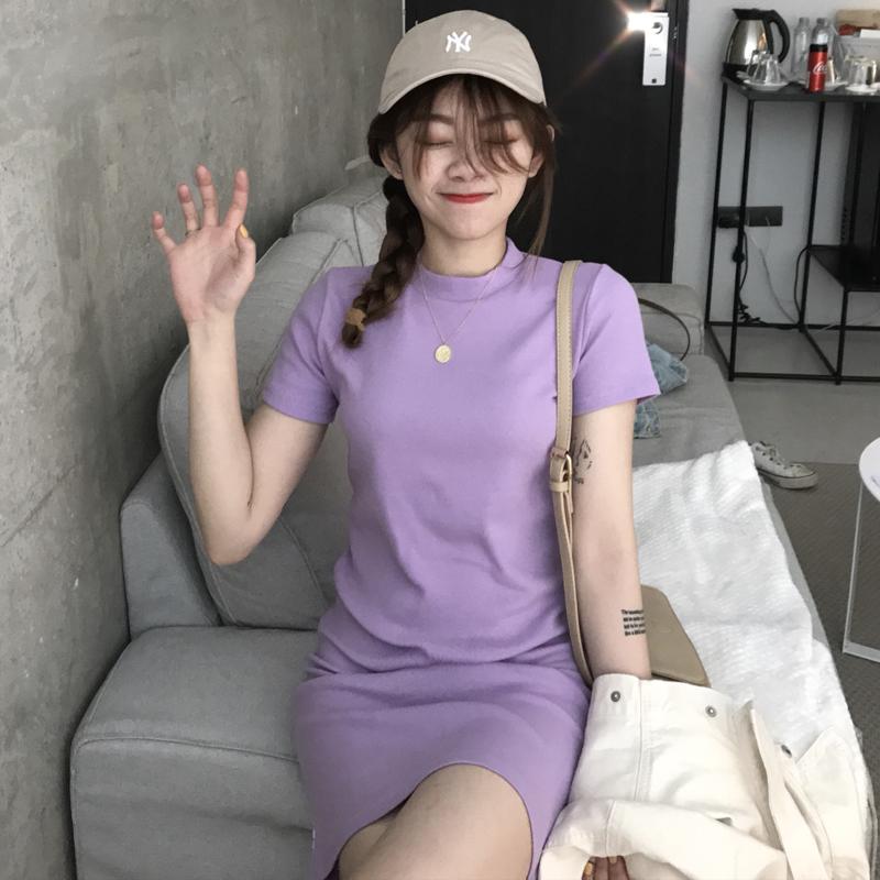 【dress】無地ハイネック半袖シンプルカジュアルワンピース21825304
