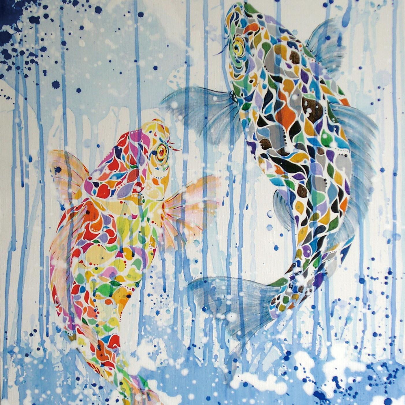 絵画 インテリア アートパネル 雑貨 壁掛け 置物 おしゃれ 鯉 魚 和 現代アート ロココロ 画家 : nob 作品 : 登龍門