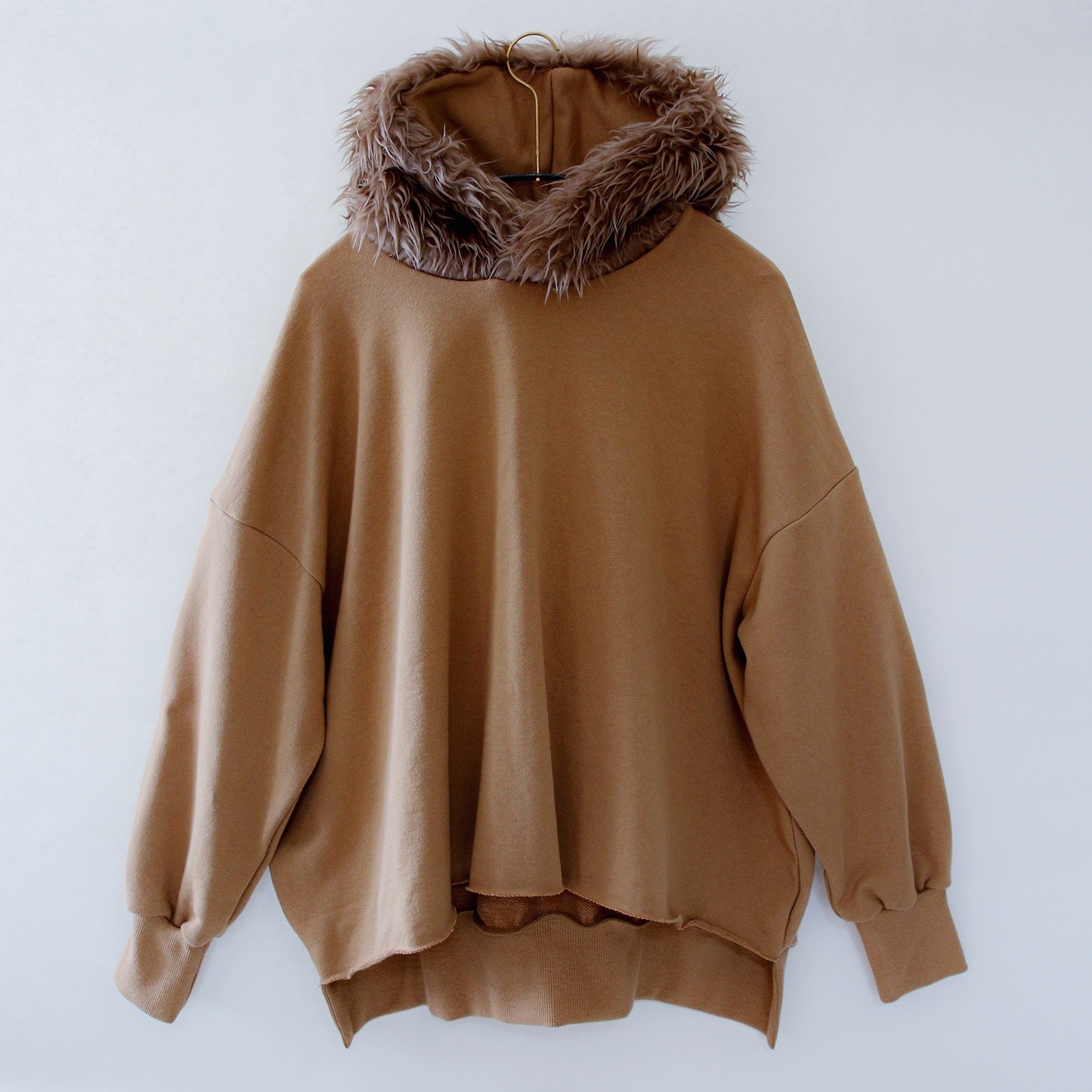 《michirico 2020AW》Fur hoodie / cinnamon / F(大人)
