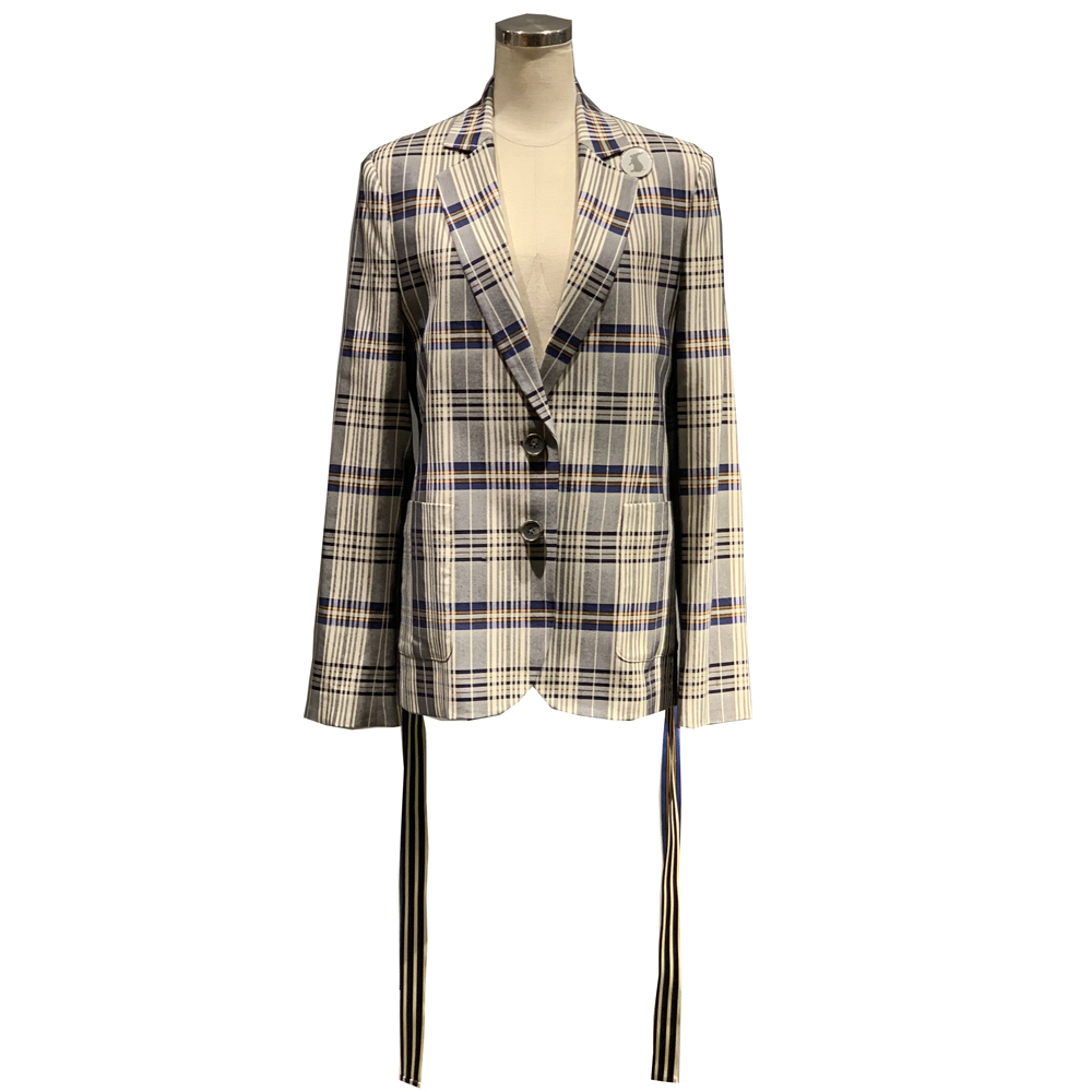 MONSE Plaid Grosgrain Jacket