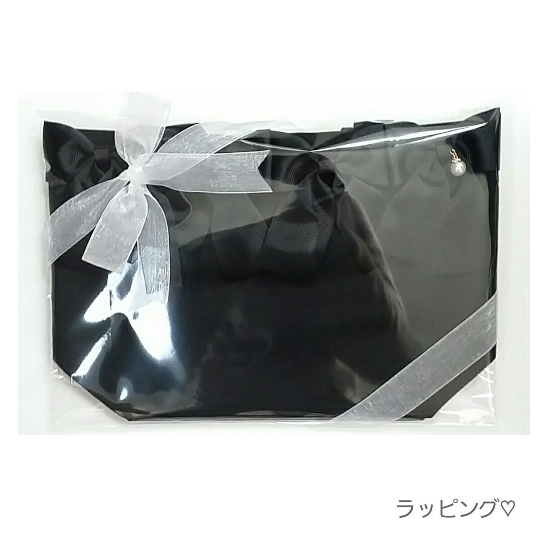【ブラック】Kリボントートバッグ(ボタンなし)[L1]