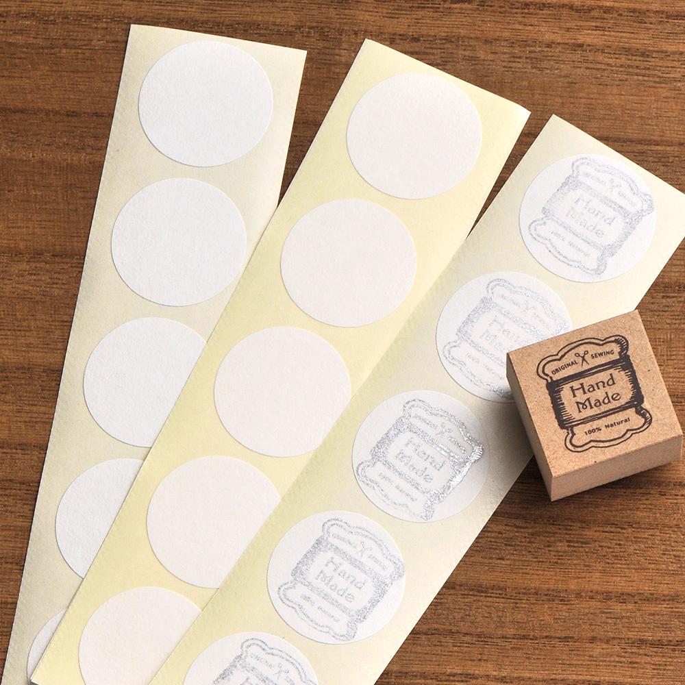 無地シール 丸型 和紙/クラフト 直径30mm 日本製 50片