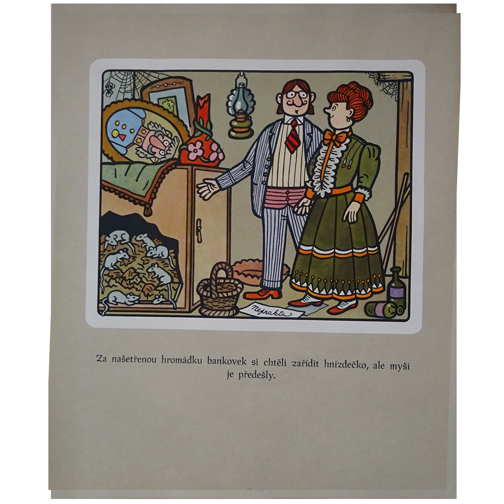 チェコ 古いポスター ネプラクタの絵つき小話 24 紳士と婦人