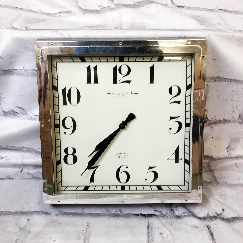 品番1553 Sterling&Noble 掛け時計 ステンレス スクエア インテリア ディスプレイ ヴィンテージ