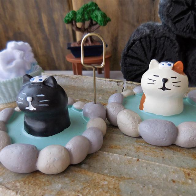 (225)  デコレ コンコンブル 露天風呂猫 カードホルダー ネコ 温泉猫