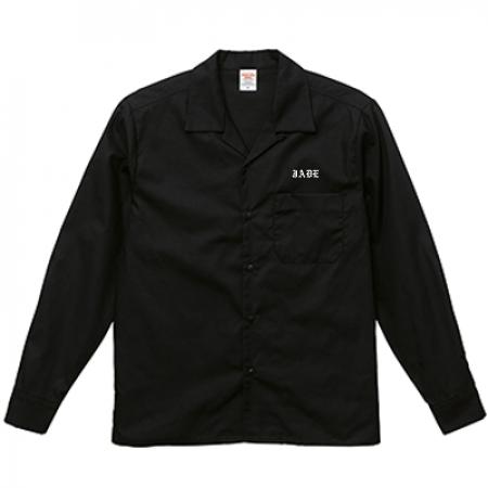 オープンカラー長袖シャツ 黒