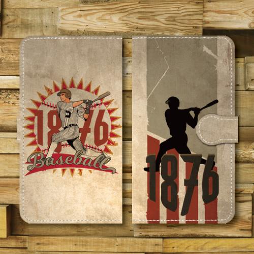 レトロポスター/ベースボール/野球/レトロ調/ビンテージ調/アメリカ/バッター/GRAY・RED/Androidスマホケース(手帳型ケース)