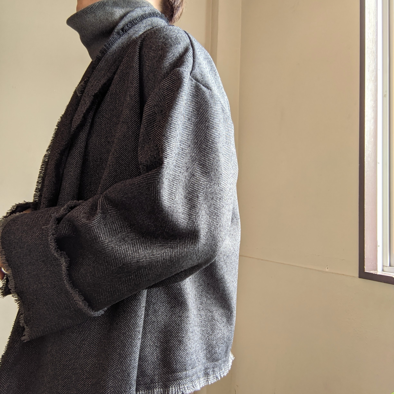 【 REHERSALL 】リハーズオール ツイードフリンジコート/ COAT / ガウンコート / ダークグレー dark grey