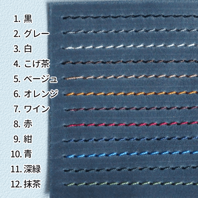ステッチ色が選べる本革パスケース(ネイビー)