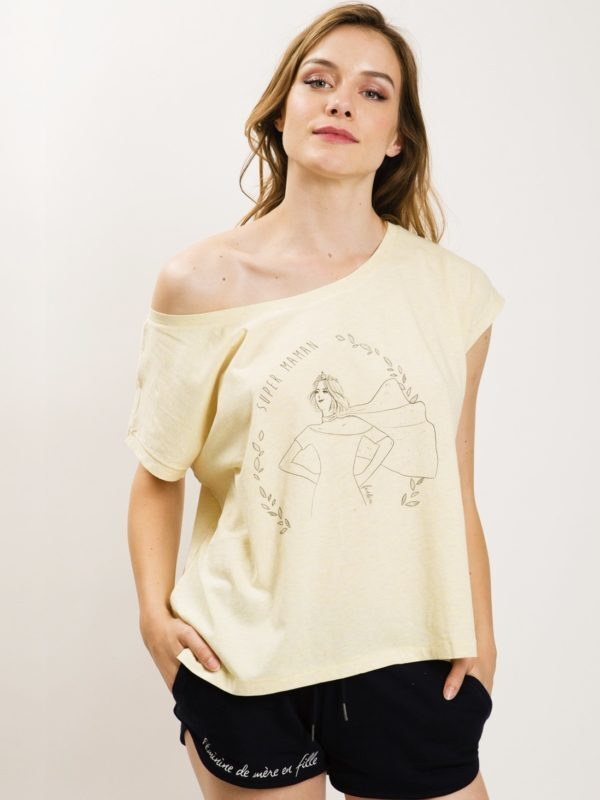 フランス製Tシャツ『SUPER MAMAN LOOSE JAUNE』