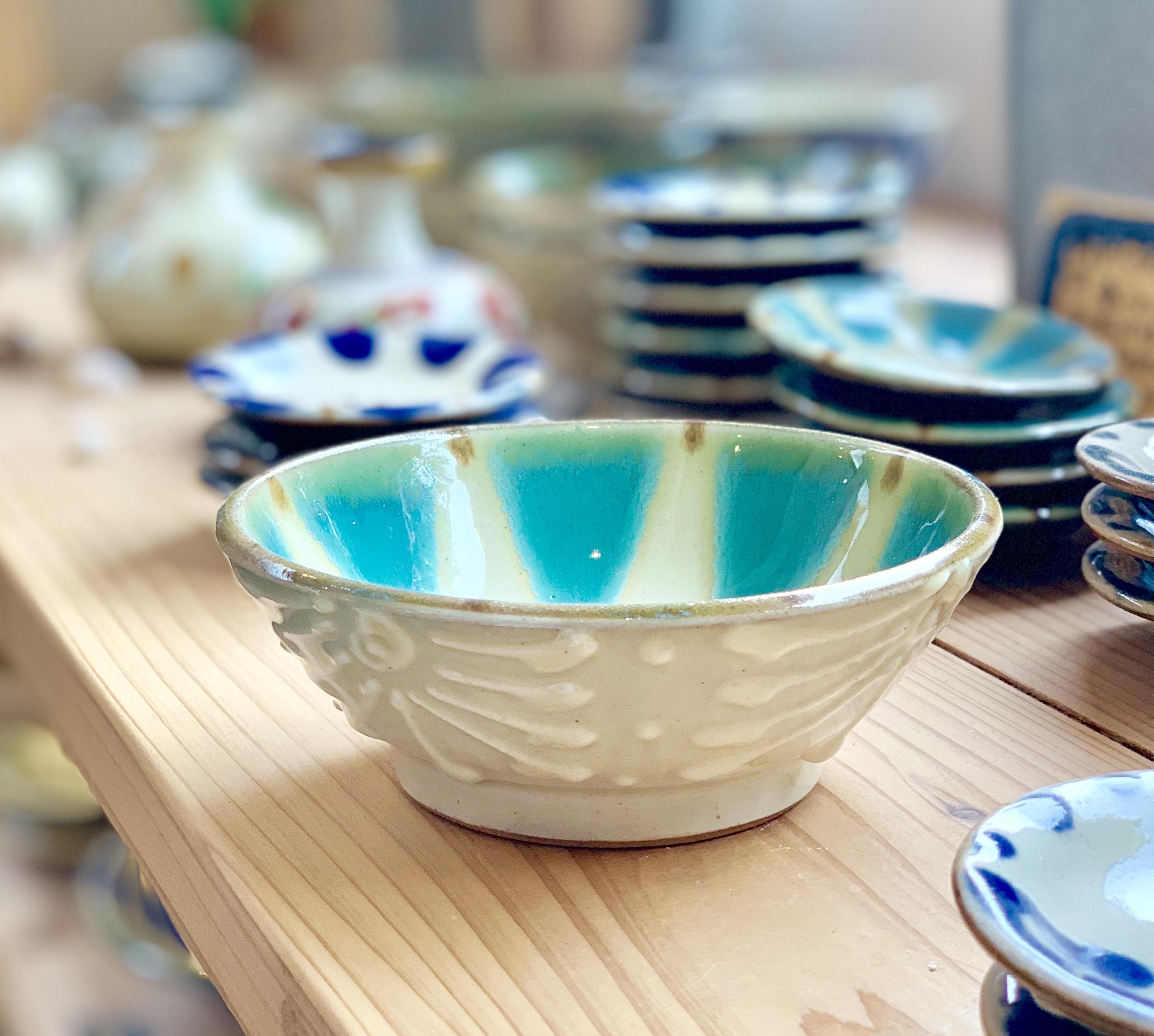 鉢5寸緑イッチン ノモ陶器製作所