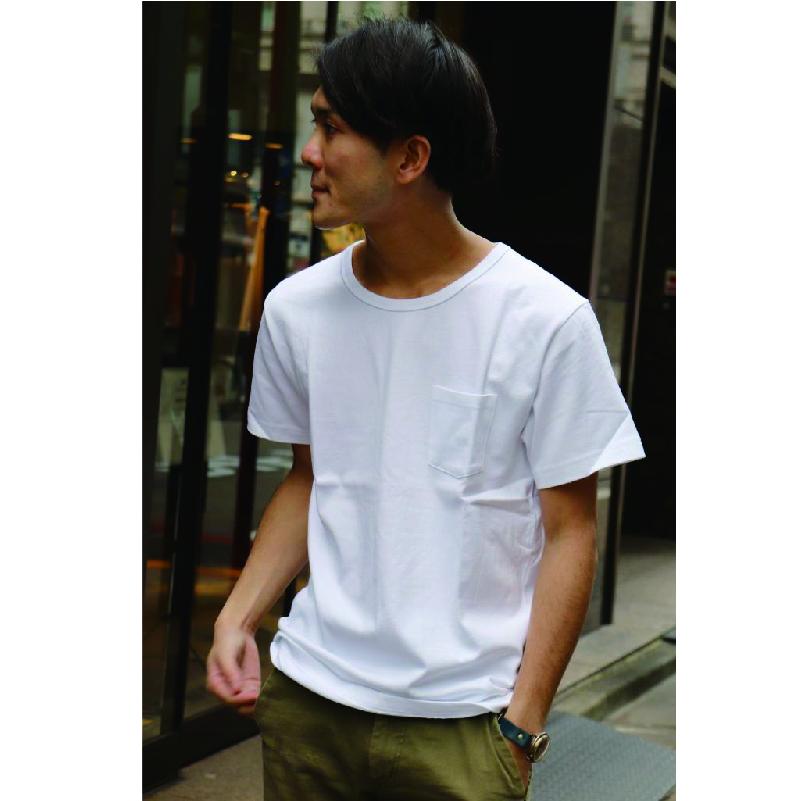 ZA TOKYO ソフトクルーネックTシャツ ポケット付き Z003