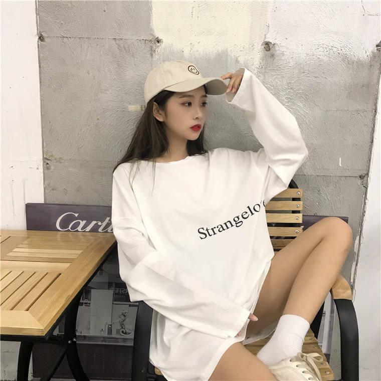 【送料無料】こなれ感 ロンT ♡ オーバーサイズ  メンズライク シンプル カジュアル ロゴ Tシャツ カットソー