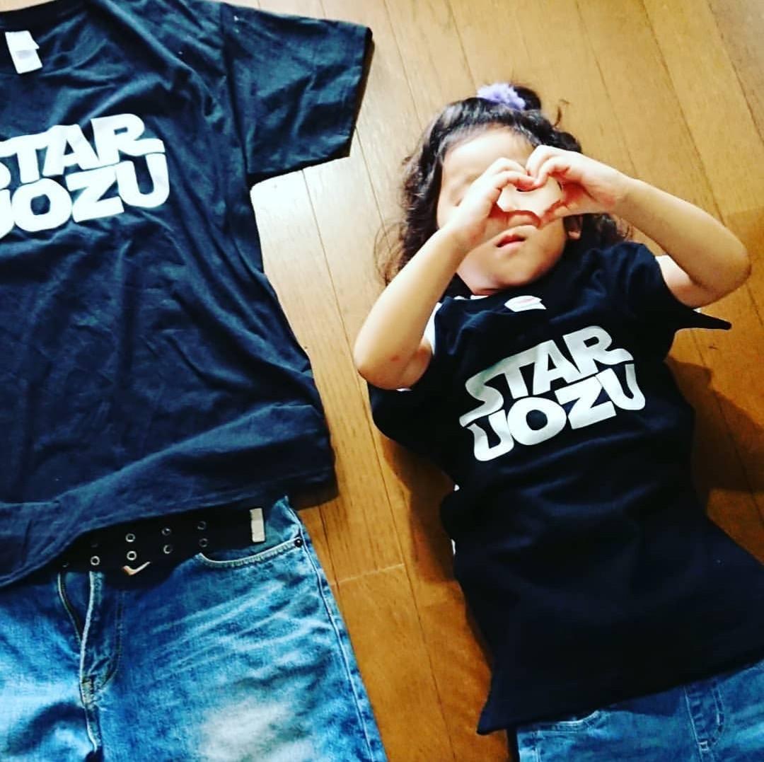 STAR UOZU キッズTシャツ ブラック×ホワイト