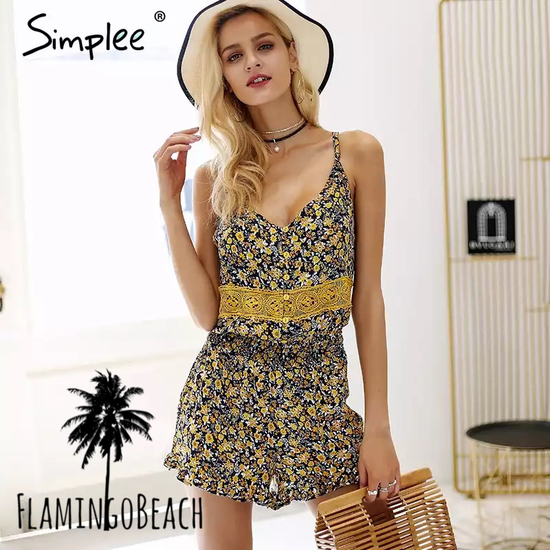 【FlamingoBeach】flower rompers ロンパース