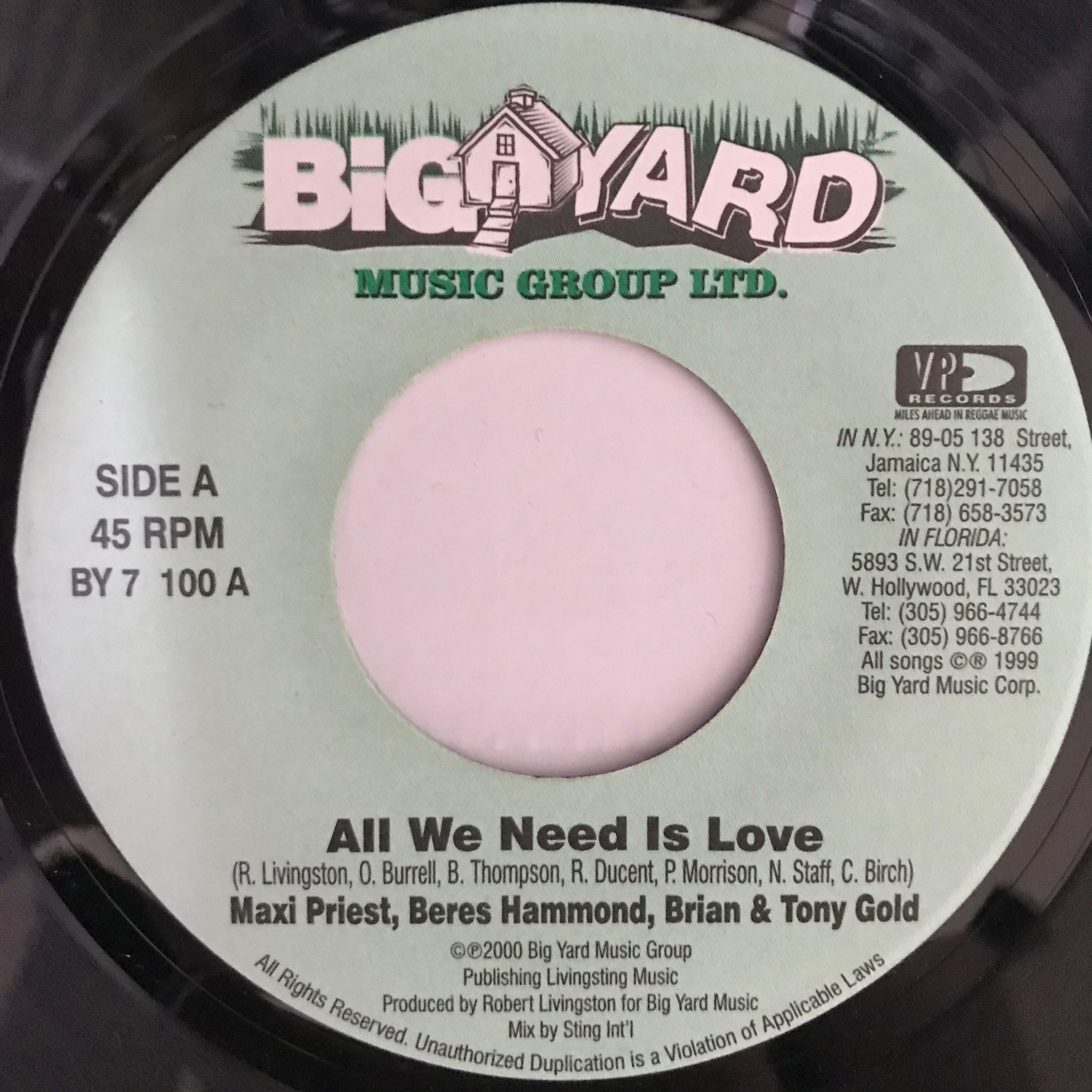 Maxi Priest , Beres Hammond , Brian & Tony Gold - All We Need Is Love 【7-10762】