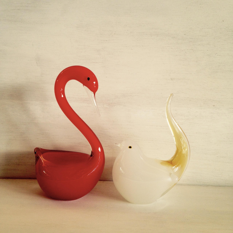 小鳥&フラミンゴ ガラスオーナメント(マルティガラス)