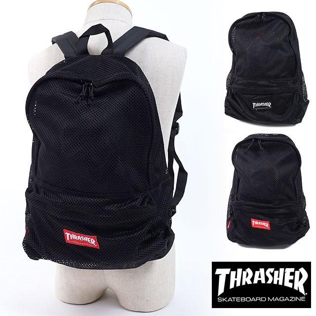 2018年 春夏新作 THRASHER (スラッシャー) メッシュバックパック リュックサック バッグ メンズ・レディース ブラック THRMS5900