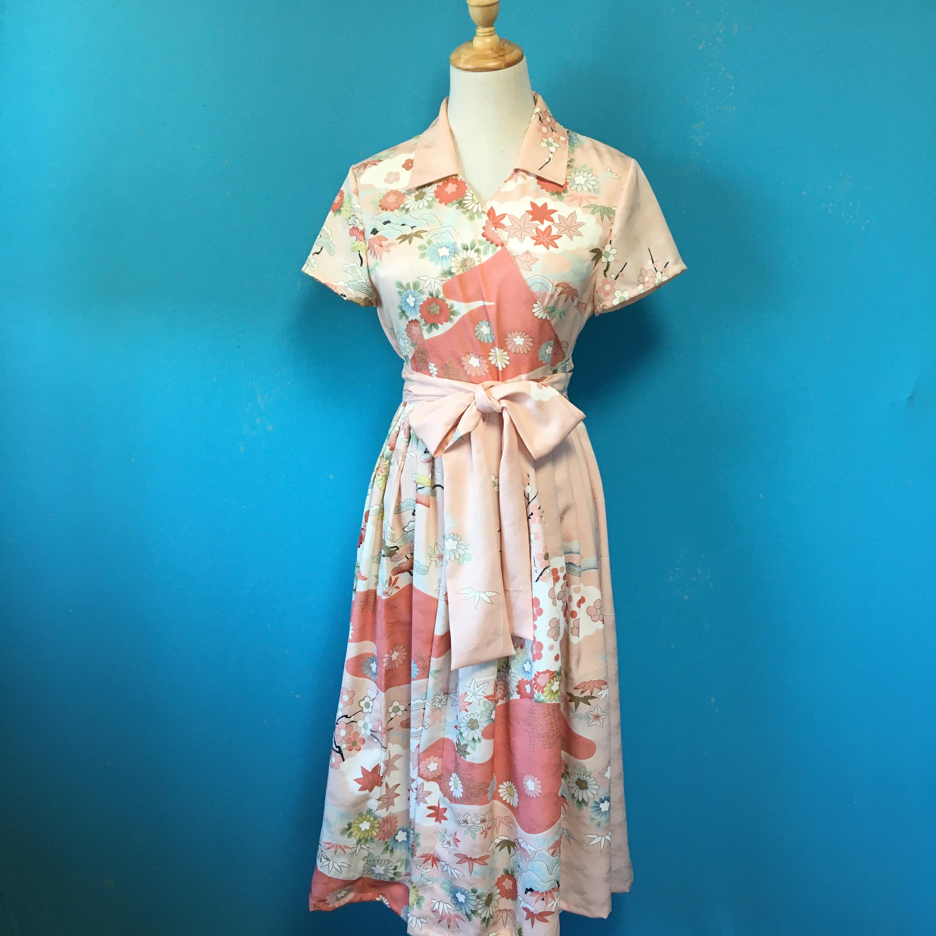 Vintage kimono dress/ US 8  pink 訪問着