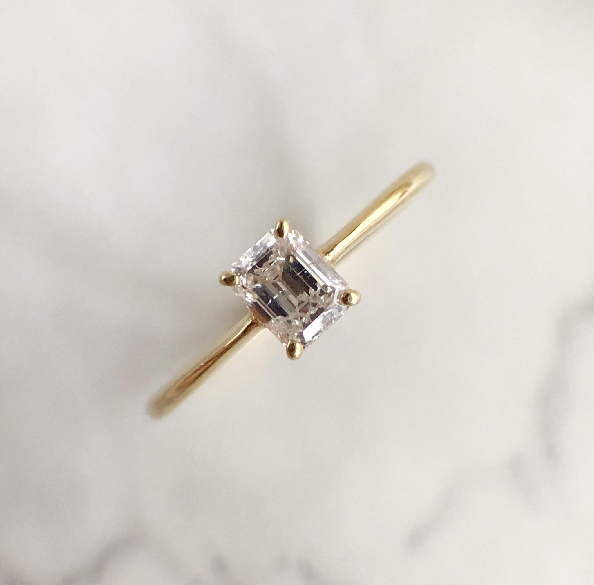 エメラルドカット ダイヤモンド リング 0.341ct  K10イエローゴールド チェカ