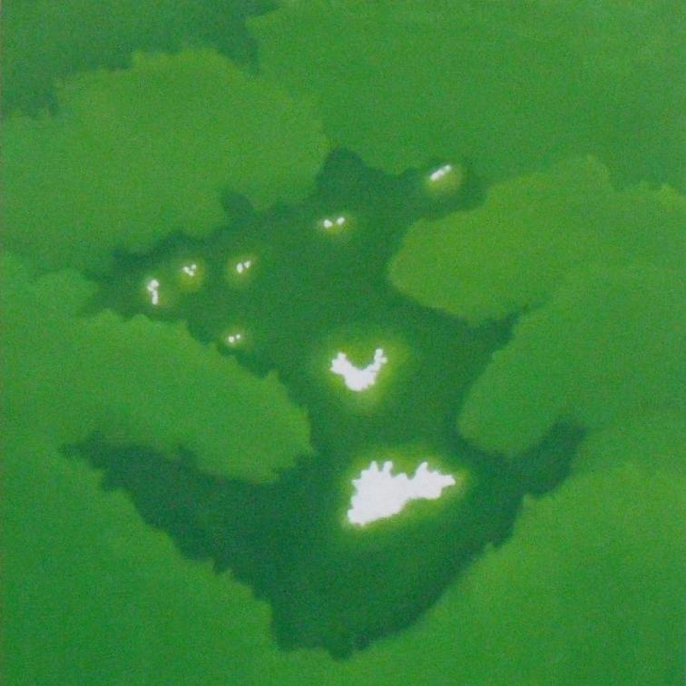 絵画 インテリア アートパネル 雑貨 壁掛け 置物 おしゃれ こもれび 木漏れ日 自然 風景 ロココロ 画家 : 馬見塚喜康 作品 : こもれび-Ⅰ