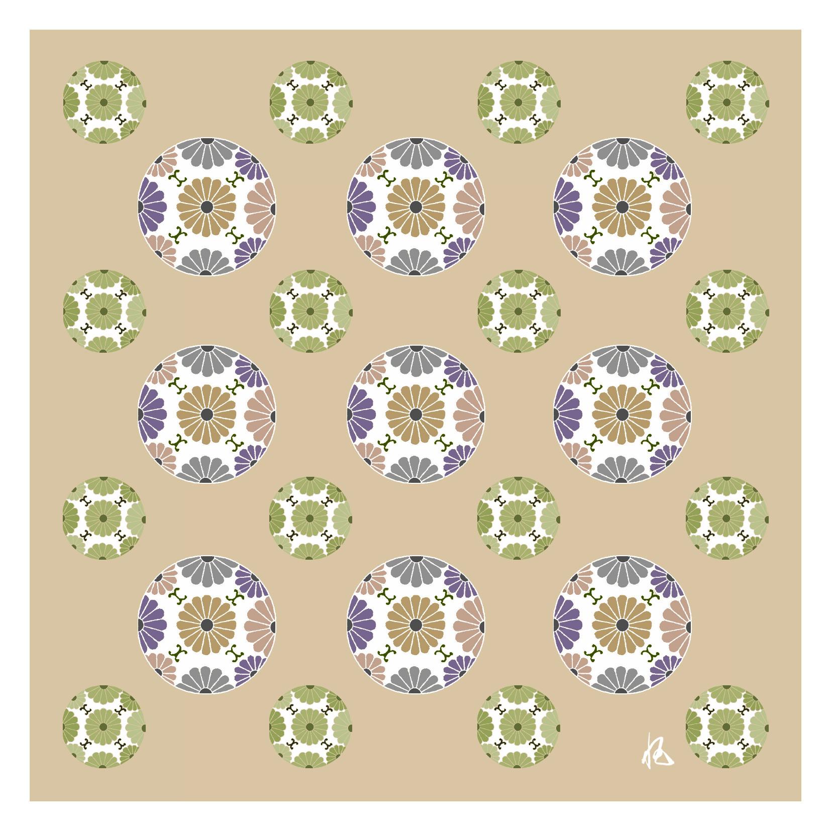 ガラス皿「そめゆら」K-19 菊紋 ベージュ