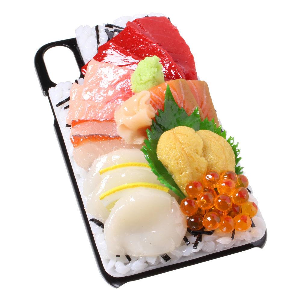 [8000]食品サンプル屋さんのスマホケース(iPhone XS、XS Max、XR:海鮮丼)【メール便不可】