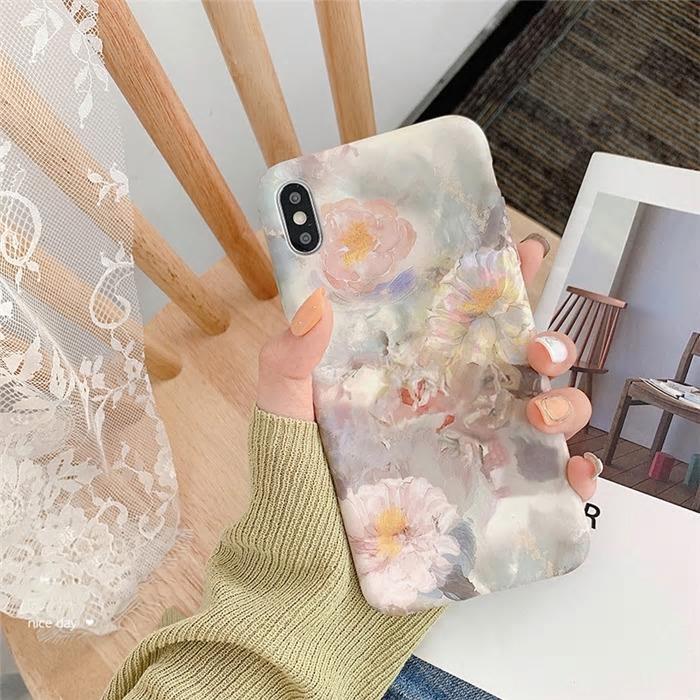 【お取り寄せ商品、送料無料】油絵調 花 フラワー マット ソフト iPhoneケース