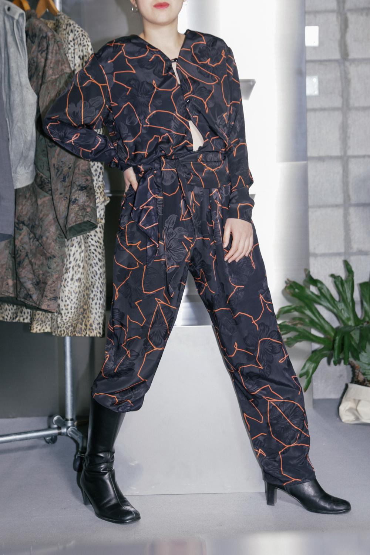 90's Flower & Line Pattern JumpSuit