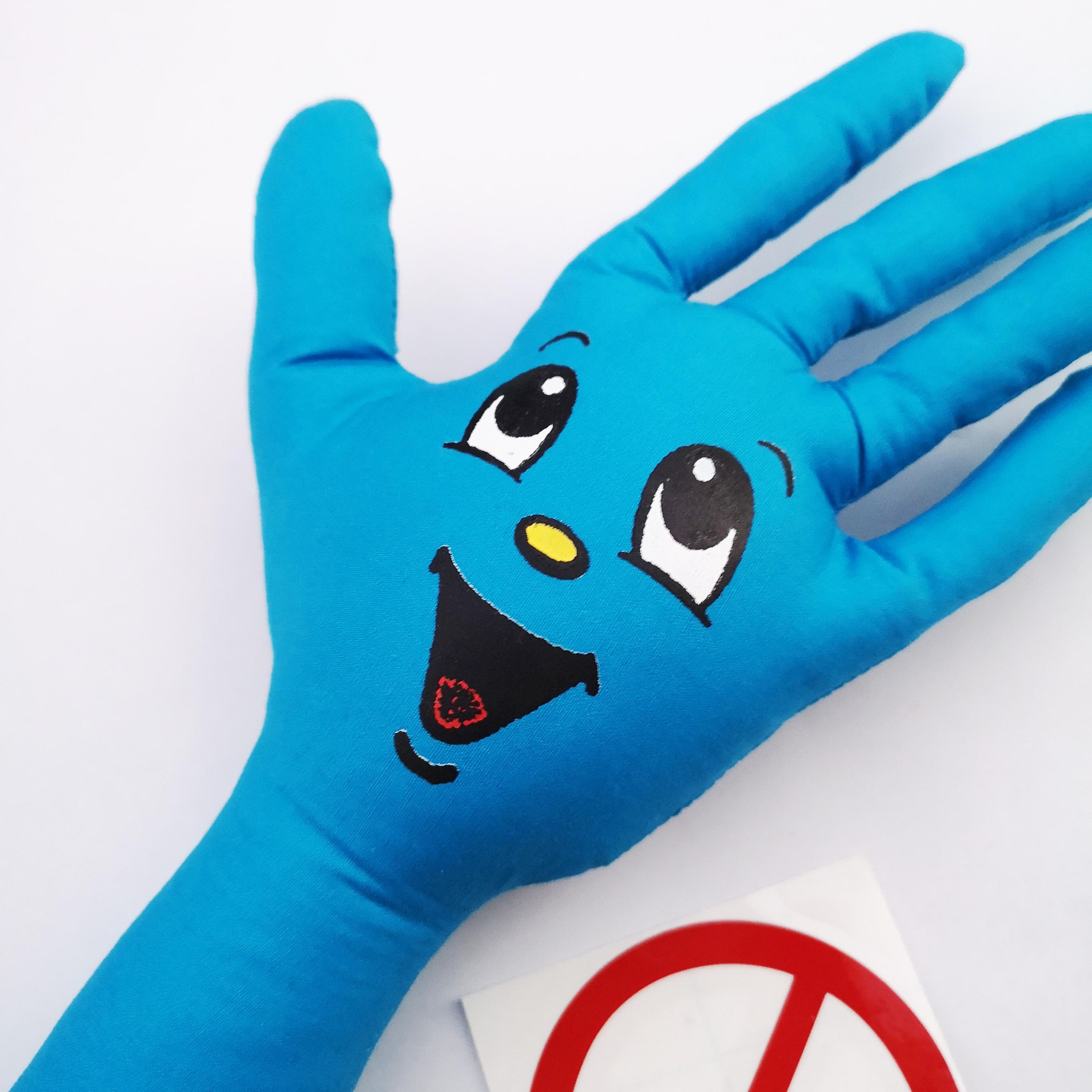 ||||| SCREAMING HAND PLUSH TOY BLUE, YELLOW