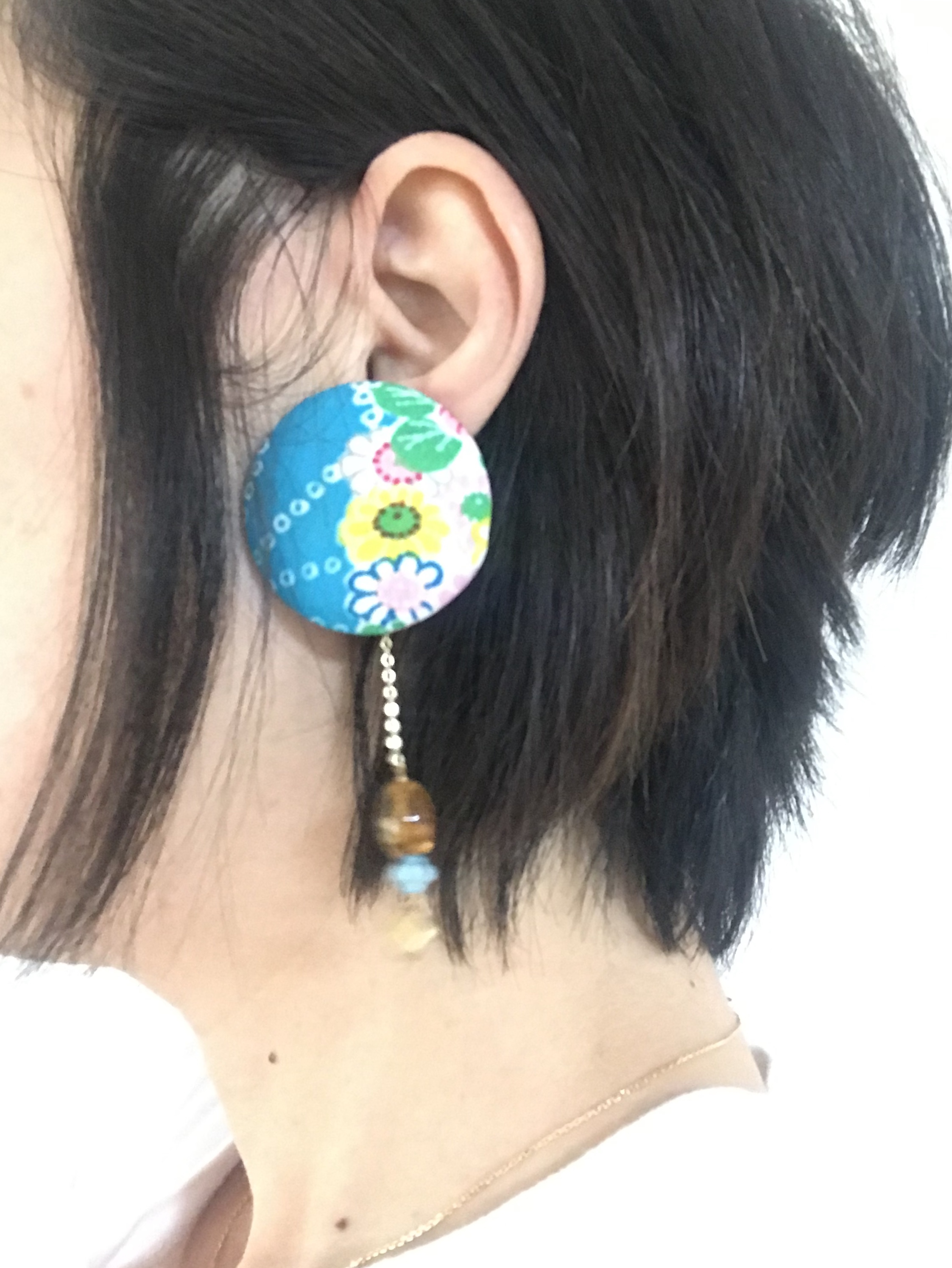 glance + 着物ピアス(ヴィンテージ・七五三着物・コバルトブルー)-2