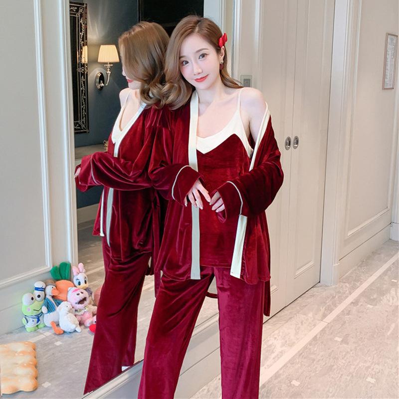 【パジャマ】三点美人度アップ 手触り良く 無地 切り替えパジャマ・長袖セット34111871