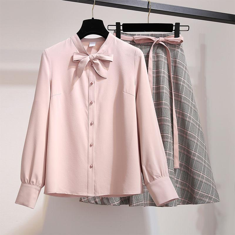 pinkシャツスカートSET