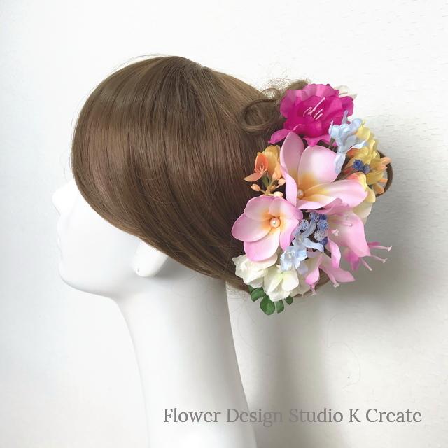 ピンクのプルメリアとミレアザレアのヘッドドレス(11本セット) 結婚式 ウェディング 海外挙式 フラダンス