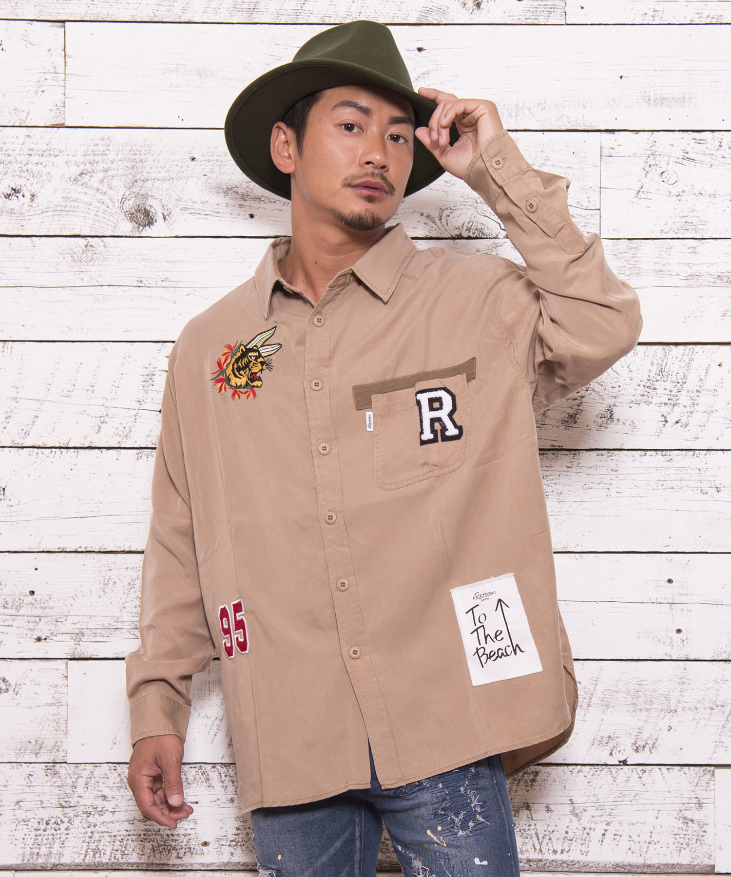TIGER EMBROIDERY WASHED SHIRTS[RES019]