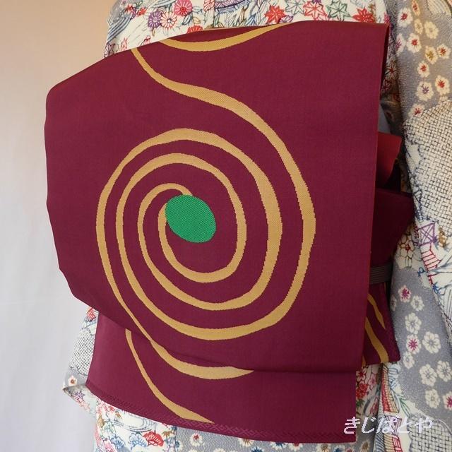 正絹 蘇芳に渦巻柄の袋帯