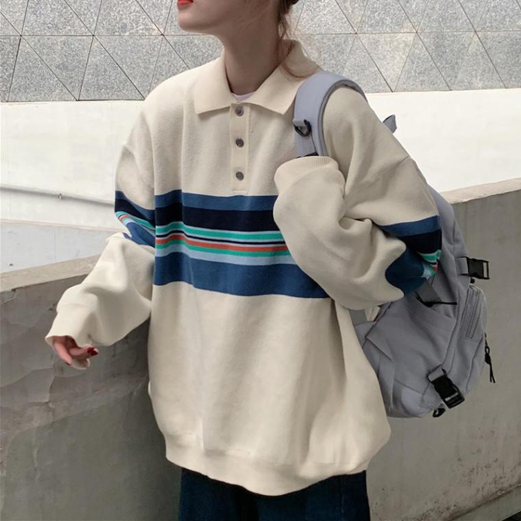 【送料無料】 メンズライク♡ ゆるだぼ ボリューム袖 ポロシャツ風 襟付き プルオーバー トップス マルチボーダー