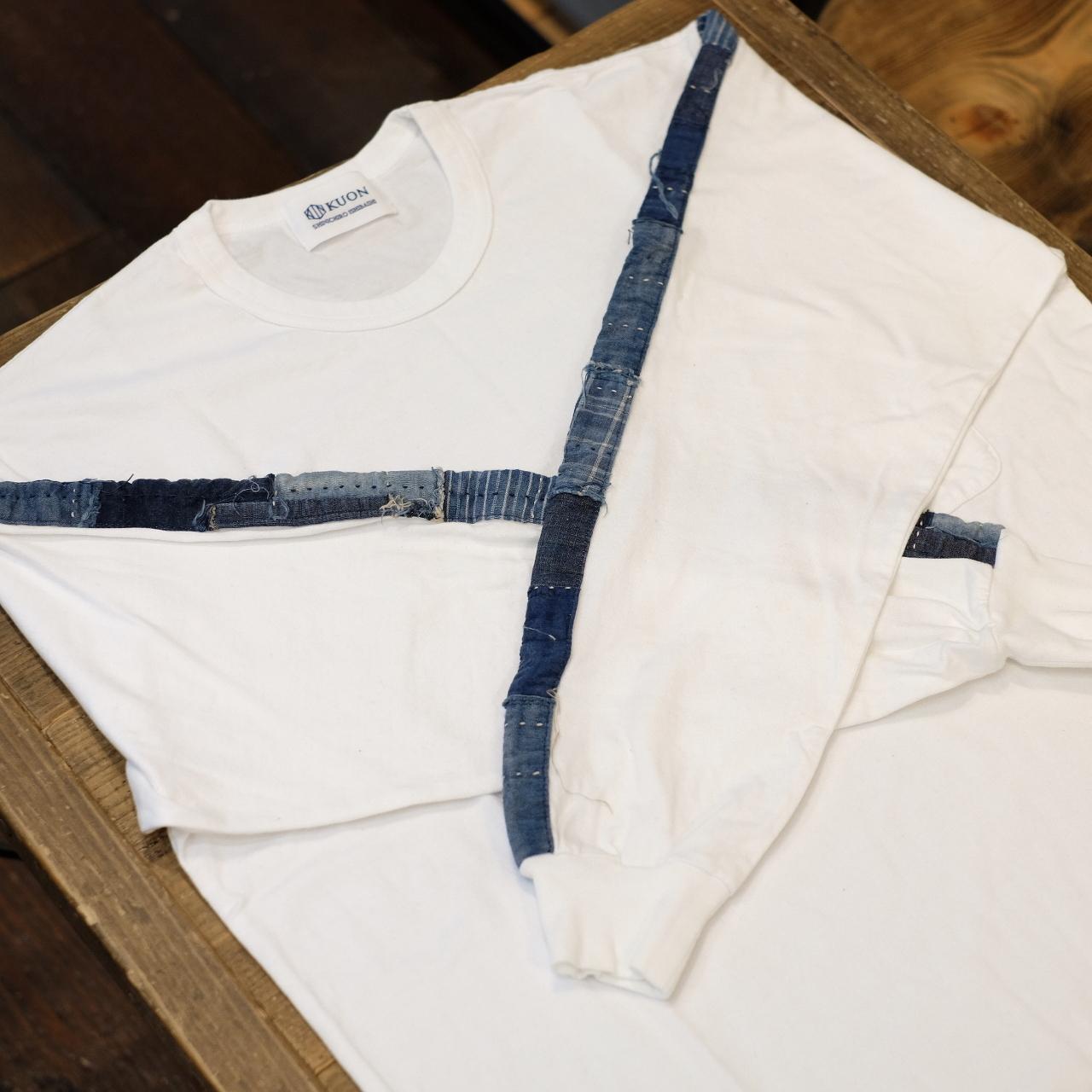 KUON(クオン) アップサイクル トリミングロングTシャツ ホワイト×ネイビー