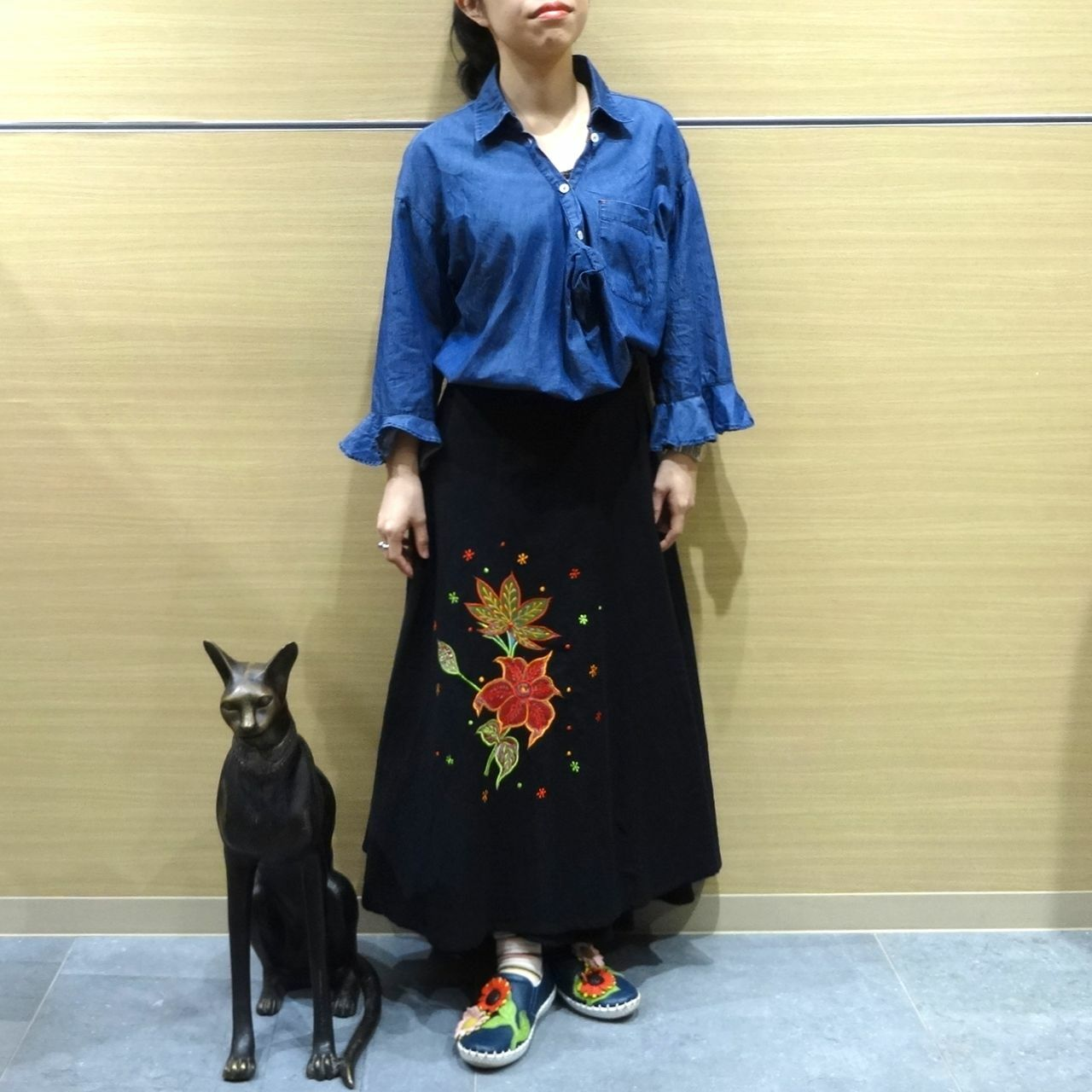 ebwb-008 刺繍コットン・サリー 巻きスカート