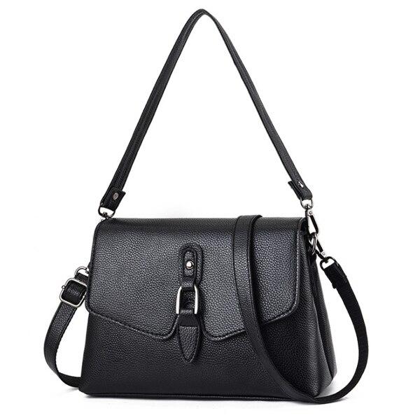 ボルサ シンプルデザインハンドバッグ ショルダーバッグ Black